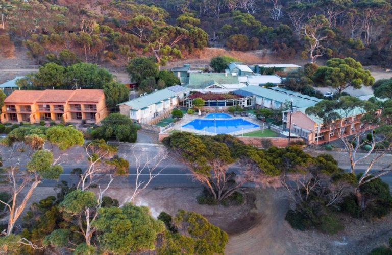 Mercure Kangaroo Island Lodge from above, American River Kangaroo Island accommodation, Exceptional Kangaroo Island Tours
