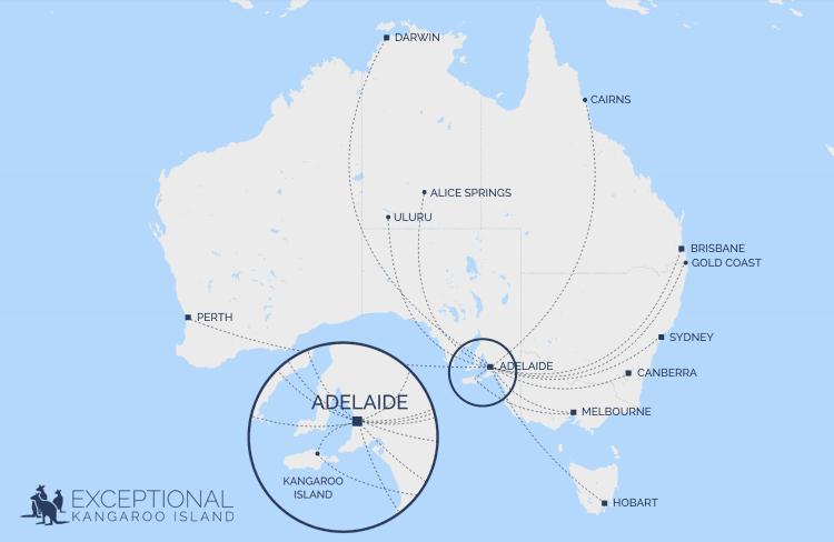 Map of domestic flights to Adelaide and Kangaroo Island - Exceptional Kangaroo Island tours - getting to Kangaroo Island from interstate