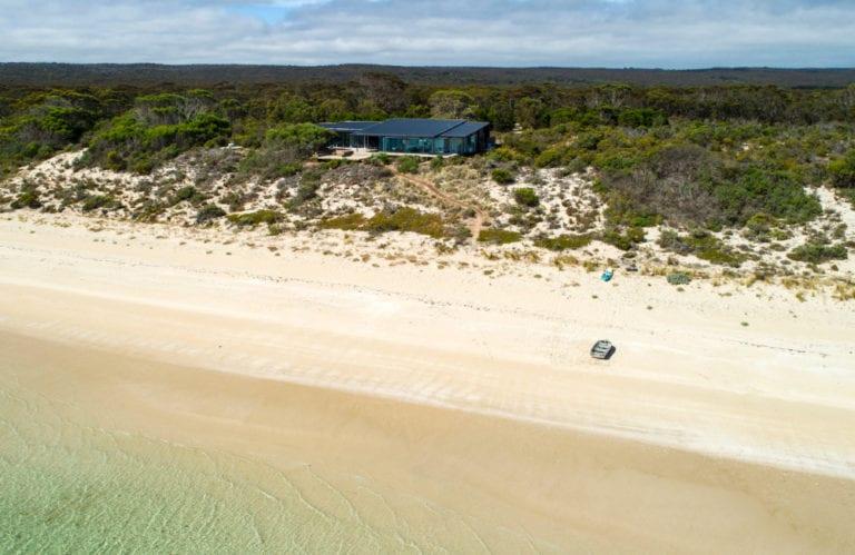 One Kangaroo Island beach aerial, Kangaroo Island luxury accommodation, Exceptional Kangaroo Island tours