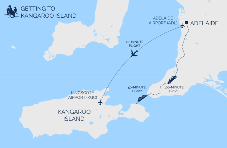 Map of how to get to Kangaroo Island from Adelaide - getting to Kangaroo Island