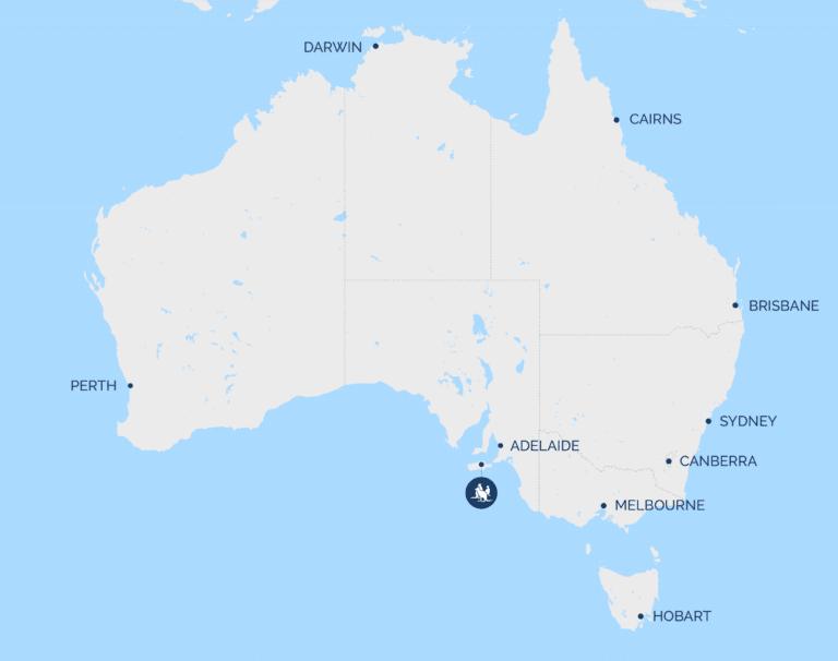 Map of Australia showing Kangaroo Island