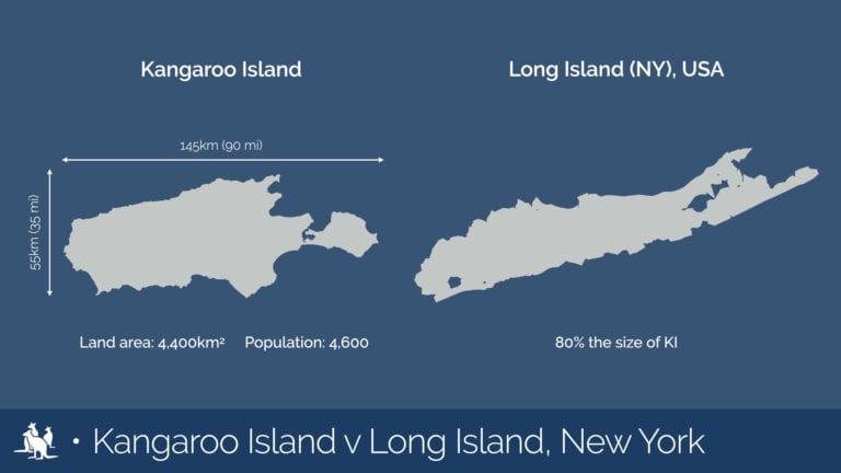 Kangaroo Island map comparison Long Island (NY), USA - Exceptional Kangaroo Island Tours