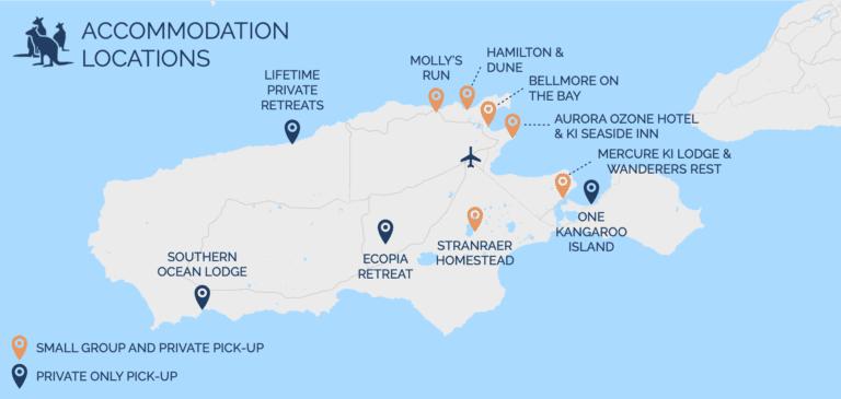 Kangaroo Island Accommodation Map - Exceptional Kangaroo Island Tours